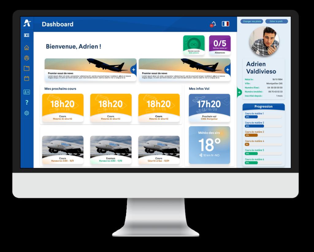 Visual del Área de miembros Ambassadair - Replay Calendar Cursos de aeronáutica en línea